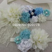 New Arrival 8set/lot Light blue Ivory flower sash matching headband , baby girl flower sash,photography props