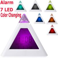 Weather Station Single 7 LED Color Changing Pyramid Digital LCD Alarm Clock Thermometer C/F Desktop Table Clocks Despertador