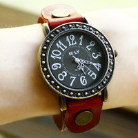 Free shipping wholesale dropship 2013 hot sale Russian fashion Genuine Cow Leather watches women big