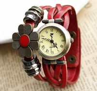 Women genuine leather watch quartz vintage braided band handmade sunflower hot sale free shipping