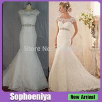 WDML011 Desinger Vintage Mermaid Round Neck Crystal Sash Lace Wedding Dress
