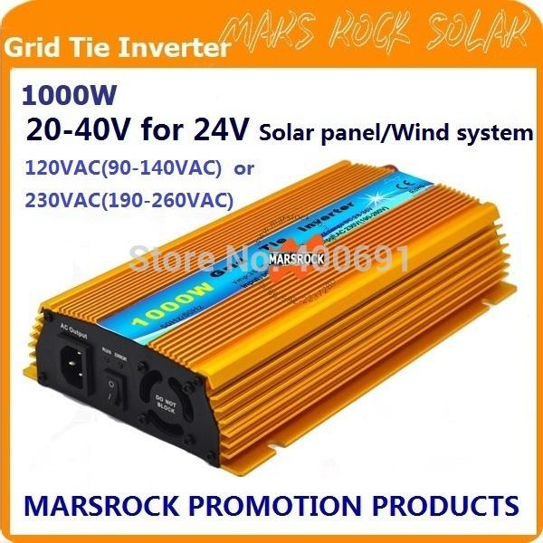 FREE Shipping!!1000W 24V Grid tie micro inverter, DC20V~40V, AC90V-140V or 190V-260V for 1200W 24V Solar panel and Wind Power !(China (Mainland))