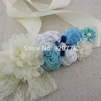 1pcs Ivory Light blue chiffon shabby flower ribbon sash belt, flower Maternity sash with Rhinestone lace photo prop