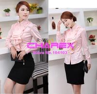 Plus Size Brand Formal Blouse XXL XXXL Autumn Women OL Elegant Dress Pink Shirt Ladies Women Clothing Blouses Tops Brand Design