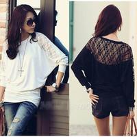 2014 Women's Ladies Batwing Loose Blouse Top T Shirt Dolman Lace Long Sleeves