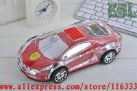 LED Car Shaped design Mini portable speaker Music MP3 USB speaker with FM radio High Quality 10pcs/lot