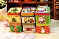 2pcs/lot  Europe style Christmas cookie jar iron case metal box candy case tin box  storage box