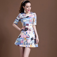 2014 women's fashion new clothing dress letter print o-neck short sleeve one-piece  vintage a-line dress