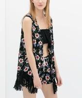 ST1985 New womens' elegant vintage Floral print non-button blouses Tassel sleeveless shirt casual shirt slim brand designer top