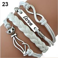 Min. order is $9(mix order) Wome Men Mix Multilayer 8 Love Cat handmade White bracelet Hot selling Bracelet Set Leather
