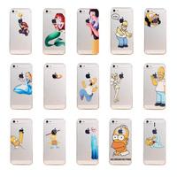 Unique Design Transparent Clear Homer Simpson Eat Logo Snow White Ariel Cartoon Soft Phone Case Cover For iPhone 4 4S  5S case