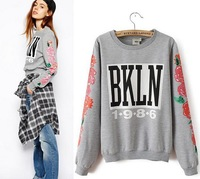 Letter Patterns Printing Sleeve Sweatshirts Women Casual Shirt O-Neck Full Sleeve Shirt Color in Gray Pullovers Tops for Lasy