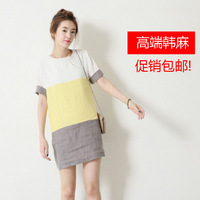 14 straight color block decoration color block loose-waisted short-sleeve dress