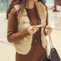 Hot Sale New 2014 Winter Fashion Waistcoat Women Solid Slim Short Faux Rabbit Fur Vest For Ladies Free Shipping WWV054