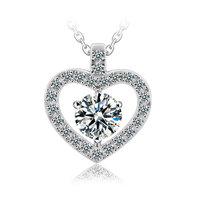 Romantic Heart Shape  CZ Pendants Necklaces Heart Necklace