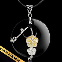 Special S925 Silver Necklace PU Leather Chain Necklace Free Shipping Swiss Diamond Flower Sea Shell Pendant Necklace XL14A062411