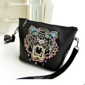 New Arrival Retail Fashion women designer girl shiny zipper handbag party embroidery tiger tote bag shoulder bag F60-219(China (Mainland))