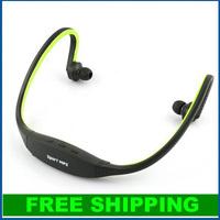 Green handsfree Sports Headphones Earphones Headset Music MP3 Player Wireless Gym Running Jogging Support 16GB Micro SD TF