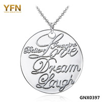 GNX0397 Fashion Rolo Chains Necklaces for Women 2014 Promotion Jewelry 925 Sterling Silver LOVE Pendant Necklace Free Shipping