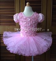 Wholesale new style girl dress, pink flower girl dance party dress, baby pettiskirt  5pcs/lot free shipping T-01