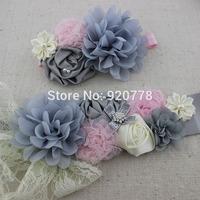 2pcs/set Fashion sliver grey sash and matching headband, chiffon shabby flower sash belt, girl flower sash, Maternity belt