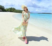 2014 beach vacation Chest strap chiffon goddess temperament Slim thin sexy V-neck dress bohemian beach dress