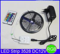 3528 led strip DC12V 5M 300led  strip 24key IR remote controller power adapter EU/US/AU Plug 3528 RGB led strip