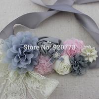 1pcst New style sliver sash, pink ivory gray flower sash, chiffon flower girl sash, Maternity sash, photo prop