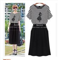 2014 women's plus size 3XL  fashion black and white stripe short-sleeve dress slim knitted midguts summer dress