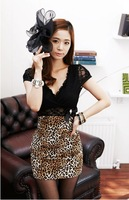 sexy summer dress  2014 for women clothing  new fashion lace patchwork leopard print V-neck slim hip short-sleeve dress slim