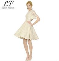 Luxury Women White Lace Ball Gown Dress Flare Sleeve Princess Dresses XS-XXL