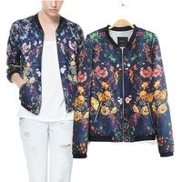 Retro flower print  bomber jacket women lomg sleeve  jaqueta feminina 2014 new fashion autumn Jackets free shipping
