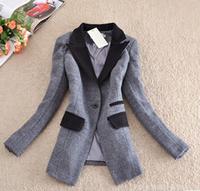 Women's Coats 2014 Fashion Thick Winter Female Coat Turn-down Collar Ladies Coats Solid Single Breasted Winter Coat Women E 11