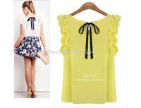 Hot Sell Free Shipping European and American Women Sleeveless Chiffon Shirt Solid Female Cultivating Wild Shirt Women T-shirt