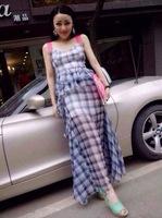 women clothing for 2014 summer plaid full racerback dress yumi one-piece dress