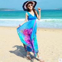 women clothing for 2014 summer peony full print dress bohemia one-piece dress