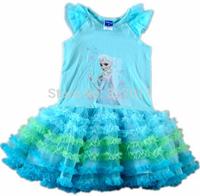 2014 NEW Frozen Dress Elsa & Anna Summer Dress For Girl Princess Dresses Girls Dress Children Clothing Kids Wear blue 5pcs/1lot