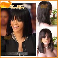 Rihanna's hairstyle 100% human  hair wigs with bangs short bob wigs indian remy hair lace front wig straight 1B color