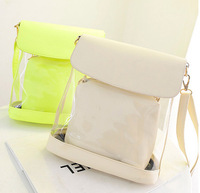 2014 New transparent Candy Women Handbag Korean Lady Jelly Messenger Bags Five Colors Retail Shoulder Bag