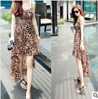 sexy&club summer dress 2014 for women clothing new fashion leopard print irregular strapless spaghetti strap dresses full dress