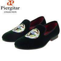 Fashionable grass green velvet loafer for men shoes with embroided 2014 world cup series