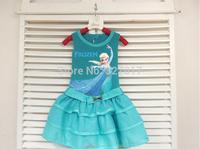 1pcs/lot new 2014 Frozen clothing Elsa princess Dress For Girl PrinDresses summer Girl Dress cotton vest dress girls' Clothing