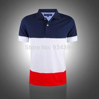 Mens T Shirts Fashion 2014 Brand Turn-down Clothing Fitness Man Causal 100% Cotton Tee Slim Fit Tshirts Embroidery Logo S-XXL
