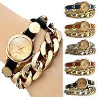 Women's Punk Golden Dial Faux Leather Chain Analog Quartz Bracelet Wrist Watch  1OK2