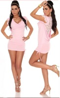 LA17840 High Quality Women Summer Pink Cocktail Dress with White Lace Back
