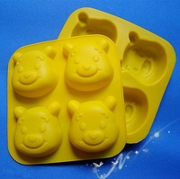 Free Shipping Food-grade Silicone 4 Cute Winnie Faces Cake Mold Ice Molds Pudding Mould Household Supplies Silicone Mold Supply