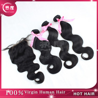 Peruvian Virgin Hair 4pcs Lot  Lace Closure With 3pcs Hair Bundles Unprocessed Human Virgin Hair Extension Body Wave