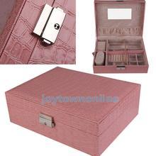 Pink Leather Jewelry Box Case Storage Organizer Earrings Display Lock Key #1JT(China (Mainland))