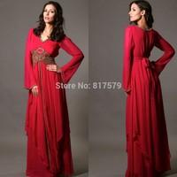 K2054 2014 Abaya Kaftan Dubai Kaftans Red Chiffon Beaded Formal Dress for Sale