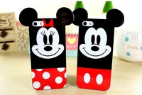 2014 3D Cute Lovely Cartoon Mickey Minnie Mouse TPU Case For Iphone 4 4s 5 5s High quality Soft Silicone Cover Wholesale